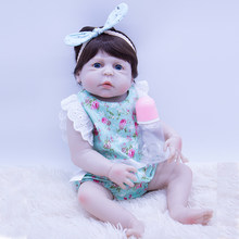 Big eyes 22'' white skin Silicone Body Reborn Baby Doll For sale Girl Play House DIY Toy 5 all Vinyl Lifelike Babies LOL Boenca(China)