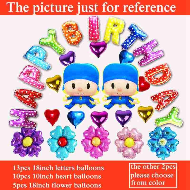 30 pçs/lote menino conjunto A2 para Pocoyo balão balão de festa de aniversário tema feliz aniversário balão da folha de letras
