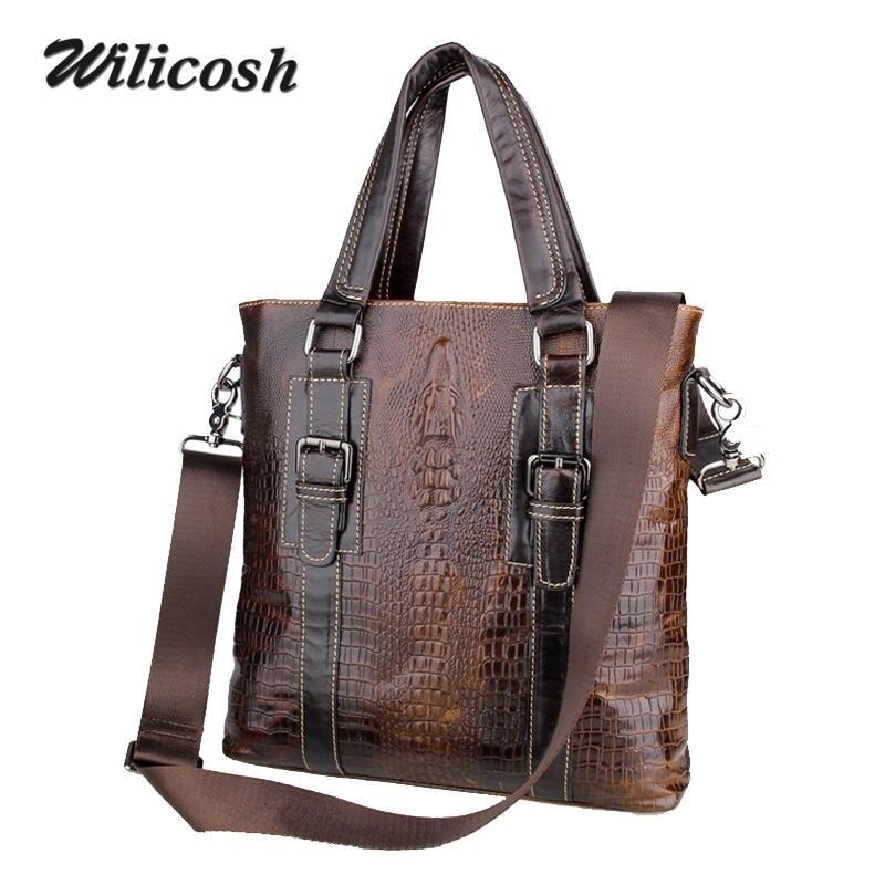 ФОТО New Fashion Men Bag 100% Genuine Leather Men's Shoulder Bags Casual Alligator Cowhide Man Messenger Bags Male Travel Bag WL183