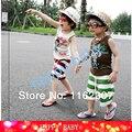 O envio gratuito de bebê meninos da menina terno crianças conjuntos de roupas de verão sem mangas T shirt + calças