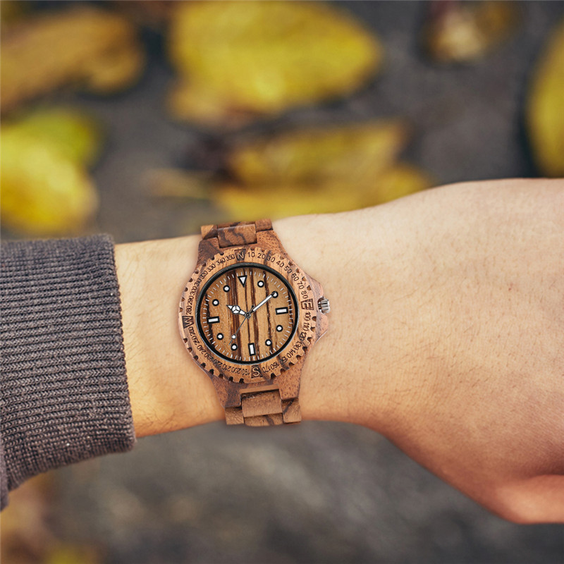 YISUYA Luxury Full Wooden Watch Men Fashion Simple Retro Wood Analog Creative Watches Modern Casual Men 39 s Clock Gift 2019 New in Quartz Watches from Watches