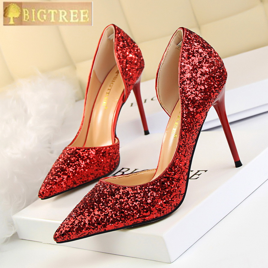 2018 New Sequined Cloth Shallow Fashion Women Pumps Side Cut-Outs Sexy  Party Shoes Women s cc1a3a1950f5