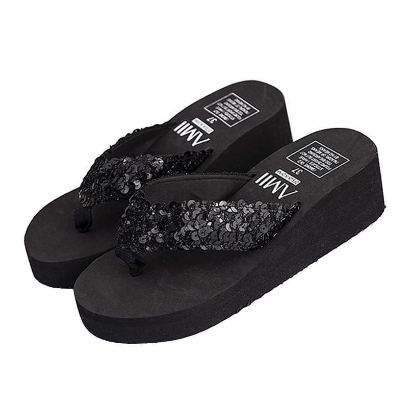 Adisputent 2019 Torridity Women Slippers Sequins -Slip  Sandals Thong  Heels  Slippers -flops Outdoor Home