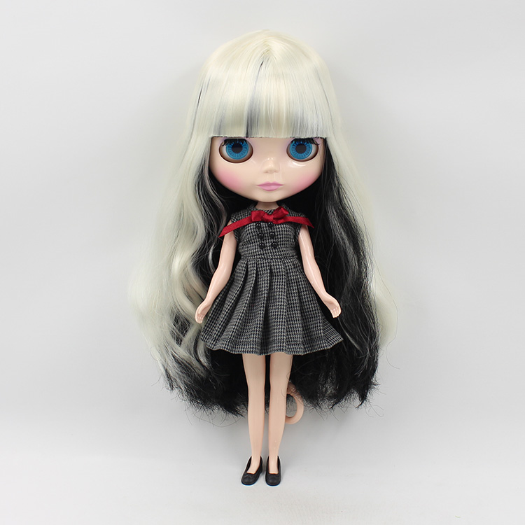 Free shipping Cute DIY Neo Blyth Nude doll Black and White Long Hair With Bangs BLYTH Dolls For Sale  free shipping neo blyth nude doll light gold hair with bangs suit for diy fashion dolls