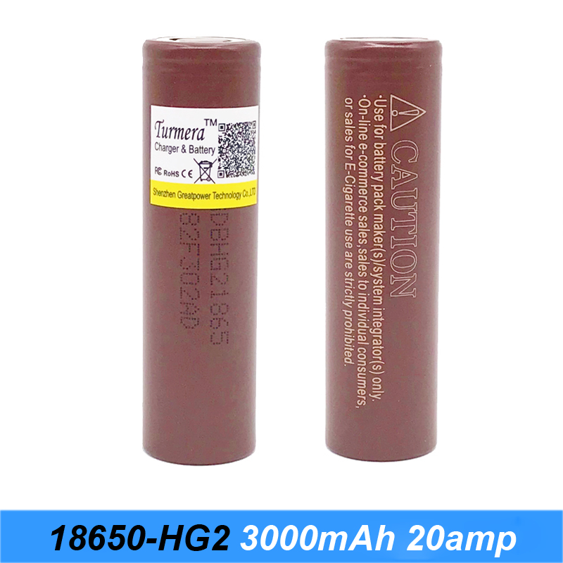 HG2 18650 3000mah font b electronic b font cigarette Rechargeable batteries power high discharge 30amp large