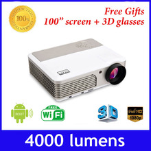 4000 lumens built-in android 4.2 wifi full HD 1080p mini DLP 600w active shutter 3D projector,convert 2D to 3D proyector