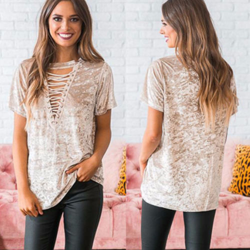 Fashion Womens Summer Velvet Short Sleeve Tops Blouse Shirts Clothes Top Ladies V-Neck Bandage Casual Loose Beach Party Blouses