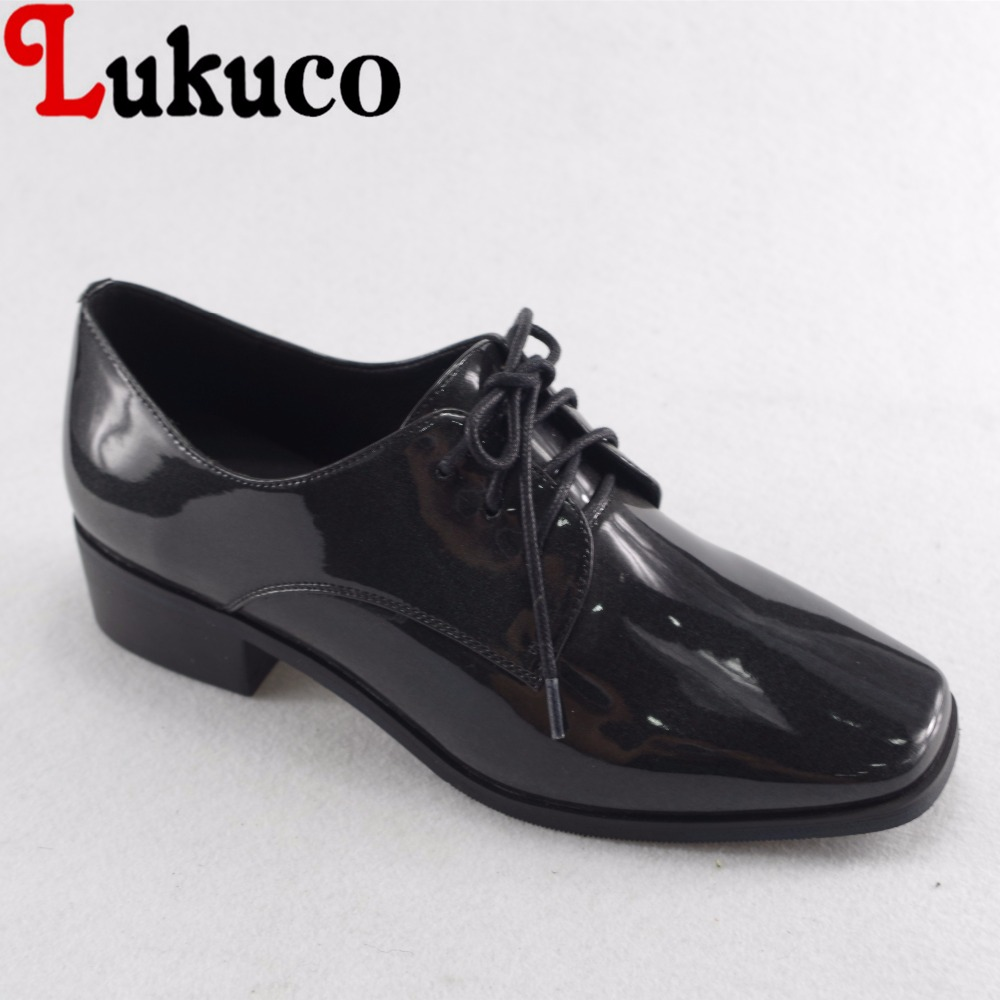 Lukuco neutral style patent leather women lace-up pumps black and gold microfiber made low heel shoes with pigskin inside lukuco pure color women mid calf boots microfiber made buckle design low hoof heel zip shoes with short plush inside