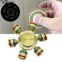 New Brass EDC Luminous Hex Shape Hand Spinner Finger Spinner Gadget Fingertip Anti Stress LED Light