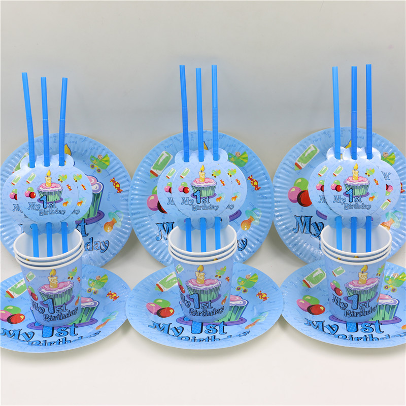 Kid Boy Baby Shower Happy Birthday Party Decoration 1st Casamento Disposible Paper Plates Drinking Cups Glass Straws 45Pcs
