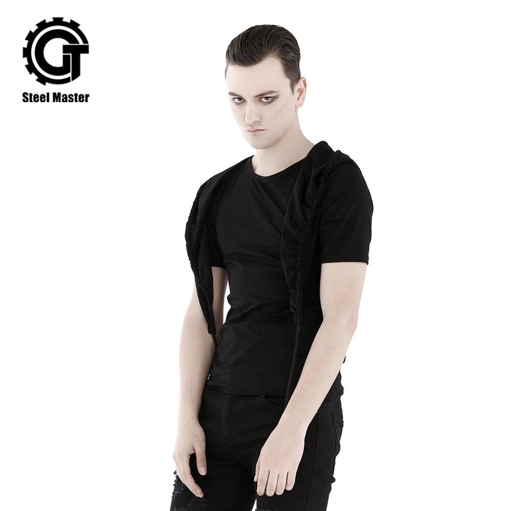 Été nouveauté T-shirt pour hommes t-shirts en coton noir avec chapeau couleur unie col rond hauts à la mode pour hommes