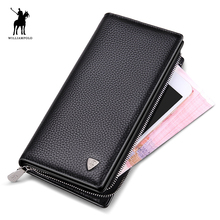 Luxus Marke WilliamPOLO 2017 Männer Geldbörse Bolsa Feminina Reißverschluss Geldbörse Solide Kartenhalter Geldbörsen Coin Halter Braun POLO128