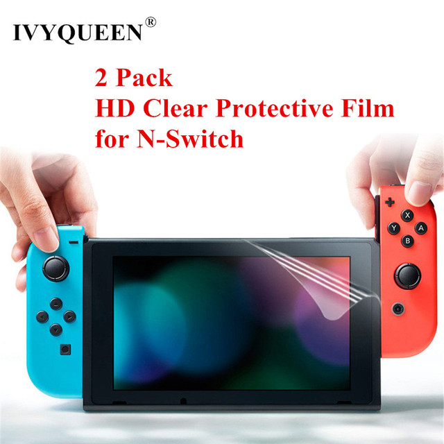 IVYUEEN 2 Pack Anti-Scratch Full HD Ultra Clear Protective Film for Nintend Switch NS Console Screen Protector Cover Skin