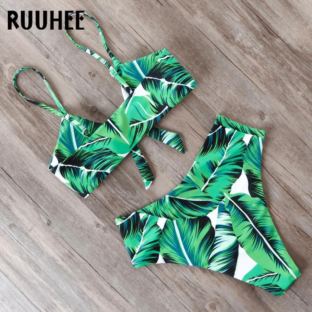 HTB1AHifL9zqK1RjSZPcq6zTepXa0 RUUHEE Bikini Swimwear Women Swimsuit 2019 High Waist Bikini Set Push Up Front Knot Bathing Suit Women Summer Beach wear Biquini