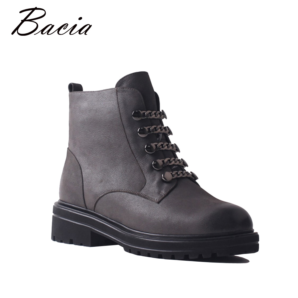 Bacia Genuine Cow Leather Boots Wool Fur Warm Women Fashion Ankle Boots With Zipper Handmade High Quality Winter Shoes SB086 bacia genuine leather boots short plush women shoes black simple style ankle boots with zipper handmade high quality shoes vd021