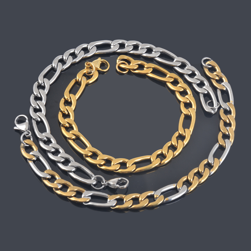 New fashion stainless steel gold&Silver plated chain link bracelet male female rock punk bracelet jewelry accessories