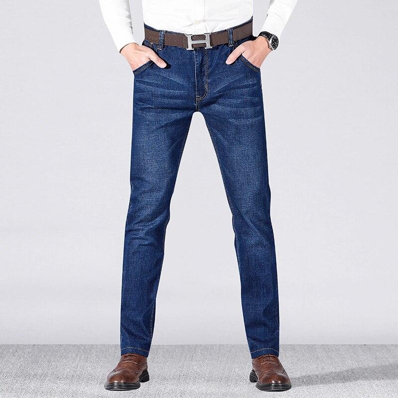2019 Brand  Mens Winter Blue Fleece Jeans Lined Stretch Denim Warm Jeans For Men Designer Slim Fit Bikrer Youth Jeans 28-38 Size