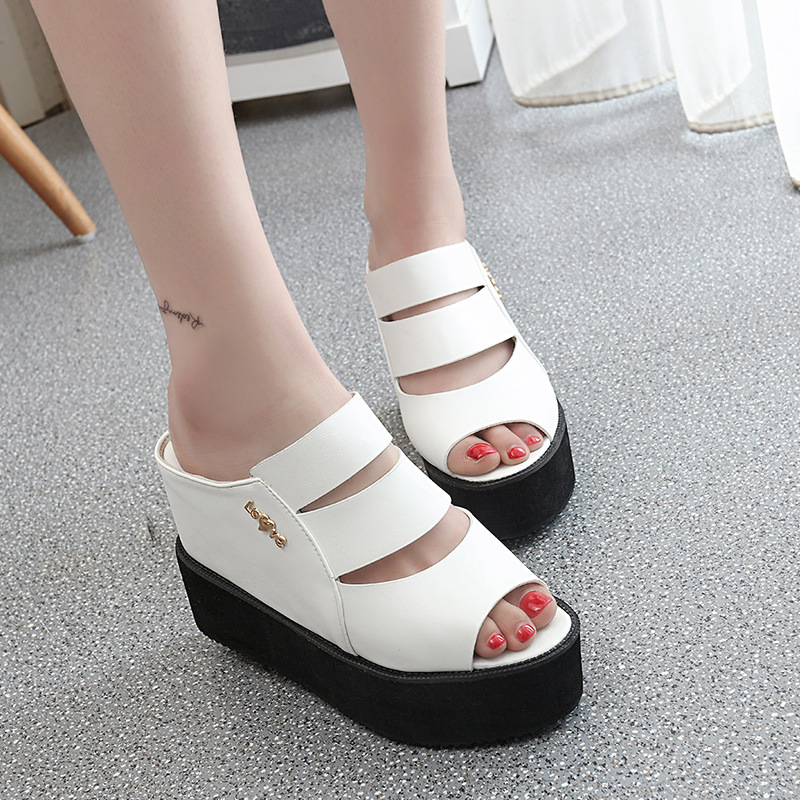 2017 new hot sales Korean sandals female summer sandal high heels slope with fish head shoes women thick waterproof platform 2017 summer new slope with sandals female fish head high heeled waterproof platform thick bottom shoes cll 3259
