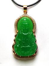 S925 желтое золото натуральный зеленый нефрит Будда Амулет подвески