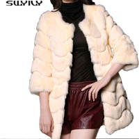 Solid Long Line Rabbit Fur Coat 9 Colors 2016 Winter Warm Women S Elegant Medium Long