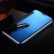 For Samsung Galaxy S8+ A3 A5 A7 2016 J3 J5 J7 2017 Prime Cases Smart Flip Slim View Window Electroplating Mirror Hard Case Cover
