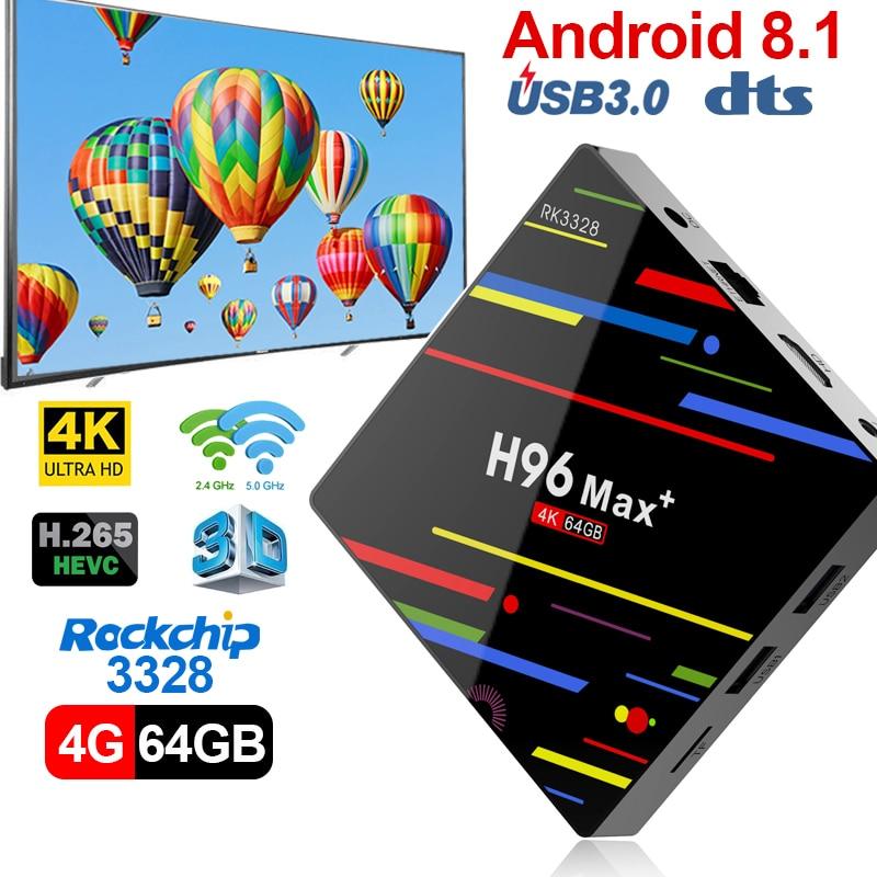 Tv caja Android 8 1 con Control de voz RK3328 QuadCore 4G 64G 4 K Dual