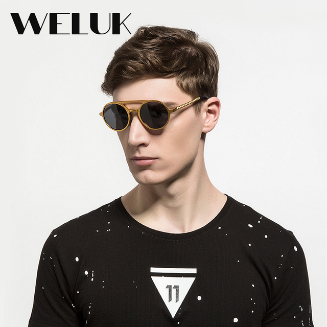 dbbe8e891f6 WELUK Aluminum magnesium Sunglasses Men Ultra Light Fashion Double Bridge  Round Steampunk Eye Wear Oculos De