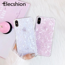 Marble Phone Case For iPhone 7 8 Plus XR XS MAX Fashion Bling Conch Shell Epoxy Xs X 6 6s Soft TPU Couples