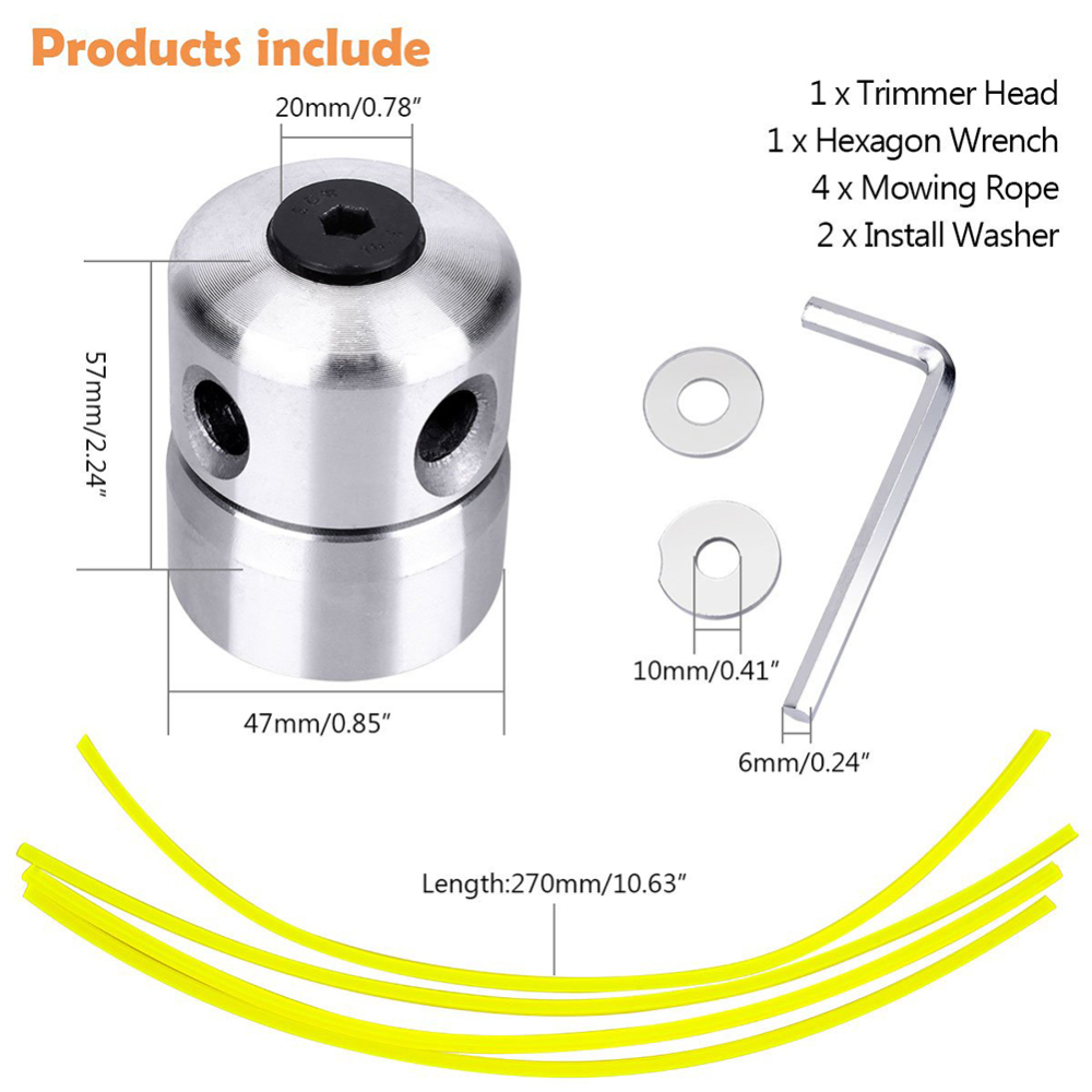 Aluminum Grass Trimmer Head With 4 Lines Brush Cutter Head Lawn Mower Accessories Cutting Line Head