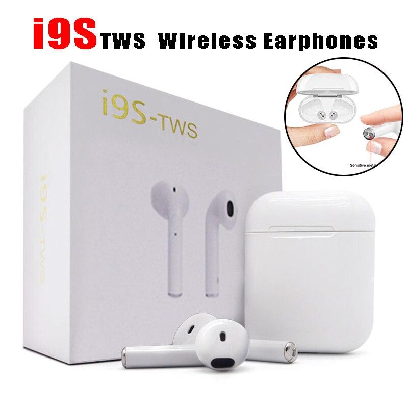I9S TWS 2018 Doppel Wireless Kopfhörer Tragbare Bluetooth Headset Ohrhörer Mit Mic für IPhone X 8 7 Plus Für Android handys