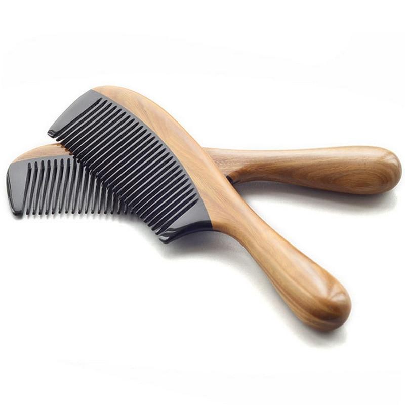 Професионална четка за косу природна рожна рожна чешаљ Зелена сандаловина Цомб Хаир Десигнер