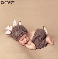 Yenidoğan Bebek Fotoğraf Dikmeler Tığ Örme Hayvanlar Geyik Şapka + Pantolon Fotografia Aksesuarları Infantil Toddler Stüdyo Sürgün Fotoğraf