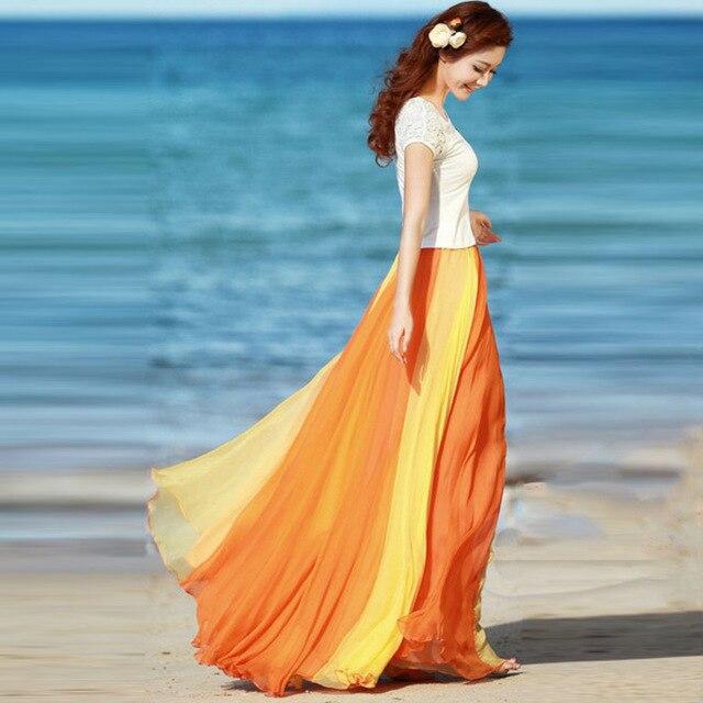 2018 Elastic High Waist Women Plus Size Maxi Boho Skirts Patchwork Summer Chiffon Long Ruffles Hem Elegant Skirt