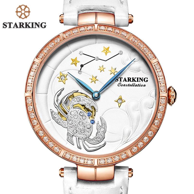 STARKING Ladies Designer Watches Luxury Watch Women 2017 Full Crystal CANCER Shape Female Clock 50M Waterproof Swimming Watches mance ladies brand designer watches