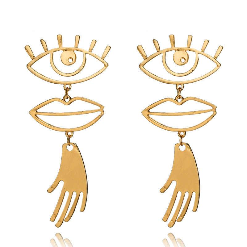 Abstract Art Gold Color Chic Palm Statement Dangle Earrings Hyperbole Big Eyes Tassel Earring For Women Fashion Bijoux 2018