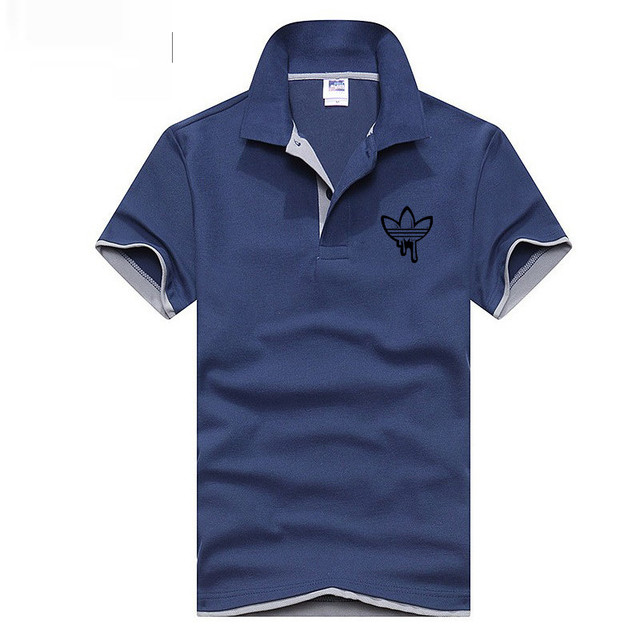 Summer Fashion brand Men Polo Shirt Solid Fashion doodle Print ADI Short Sleeve Fitness Solid Male Polo Top Clothes Cotton