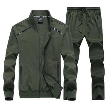 Brand Tracksuit Men Set 2019 New Fashion Autumn Spring Sport Casual Track Suit Cotton Two Piece Set Big Size 7XL 8XL 9XL Clothes