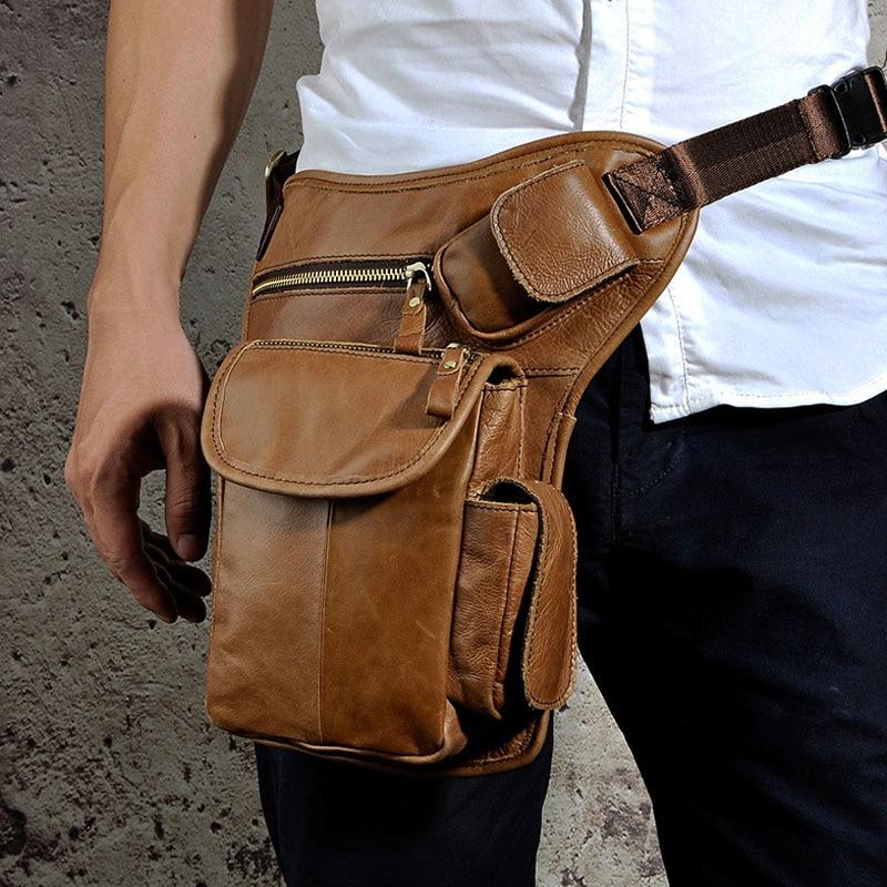 все цены на Men's Cowhide Genuine Leather Drop Leg Bag Fanny Waist Belt Hip Bum Travel Cross Body Messenger Shoulder Pack DropShipping онлайн