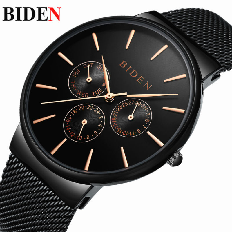 BIDEN Luxury Stainless Steel Mesh Strap Men's Watches Fashion Casual Complete Calendar Sport Quartz Watch Relogio Masculino luxury brand biden mens watches multi time zone casual quartz wrist watch men mesh stainless steel band relogio masculino