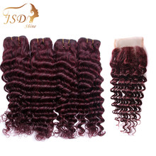 JSDShine Brazilian Human Hair Deep Wave Hair Bundles With 4*4 Lace Closure Color Red 99J Non Remy Free Shipping No Tangle 4 PC(China)