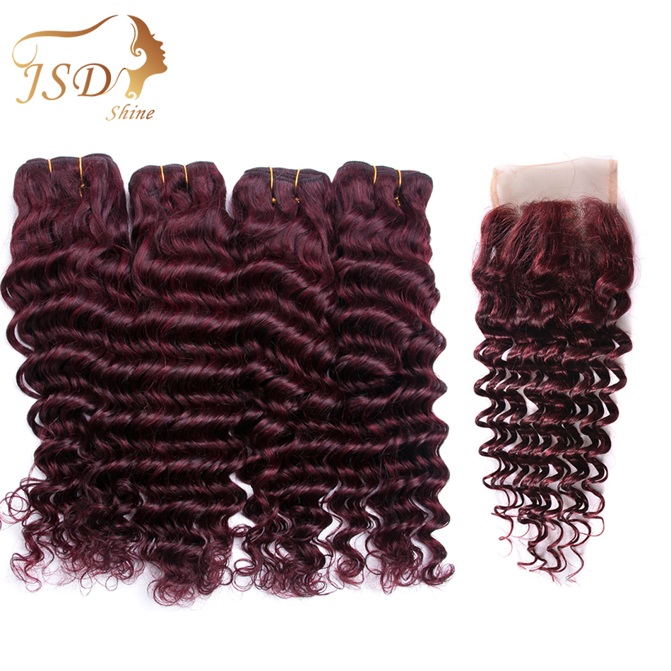JSDShine Mongolian Human Hair Deep Wave Hair Bundles With 4*4 Lace Closure Color Red 99J Non Remy Free Shipping No Tangle 4 PC