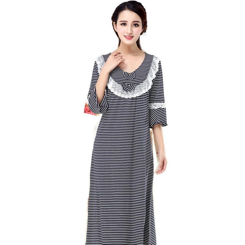 Women Long   Nightgown   Casual Home Dressing Elegant Sleepwear Lace Nightdress Striped Nightwear Cotton Negligee Women   Sleepshirt