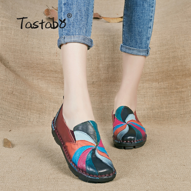 Tastabo 2017 fashion Ladies Shoes Women Genuine Leather Pregnant Flats Casual Soft Loafers Shoes Female Driving Flats Plus Size