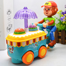 New Hot Simulation Electric Small Carts Monkeys Mini Candy Cart Ice Cream Shop Supermarket Children 's Toys Baby girl Toys(China)