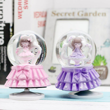 Lovely Girl Creative Life Crystal Ball Music Box Decoration Student Gift Ornaments