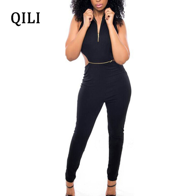 3bc4b95c22e QILI Summer Backless Black Jumpsuits Turn-Down Neck Zippers Detachable Jumpsuit  Romper Women Two Piece