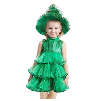 Baby Girl Sleeveless Dresses Children Green Clothes Christmas Halloween Costumes Christmas Tree Dress And Witch Hat