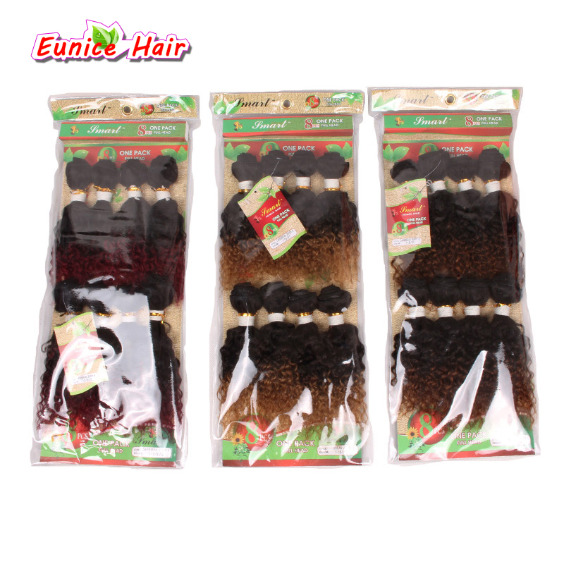Kinky Curly Hair-Weft Weave Short Virgin-Afro Jerry Ombre 8pcs/Lot Bug 8inch Unprocessed