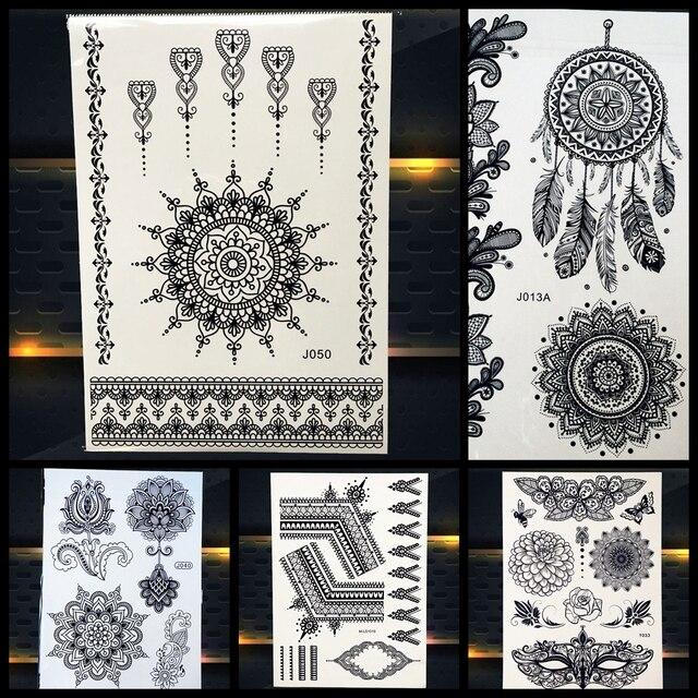 Women Black Henna Temporary Tattoo Mandala Flower Body Art Arm Hand Tattoo Stickers, Geometry Mehndi Indian Temporary Tatoo Girl