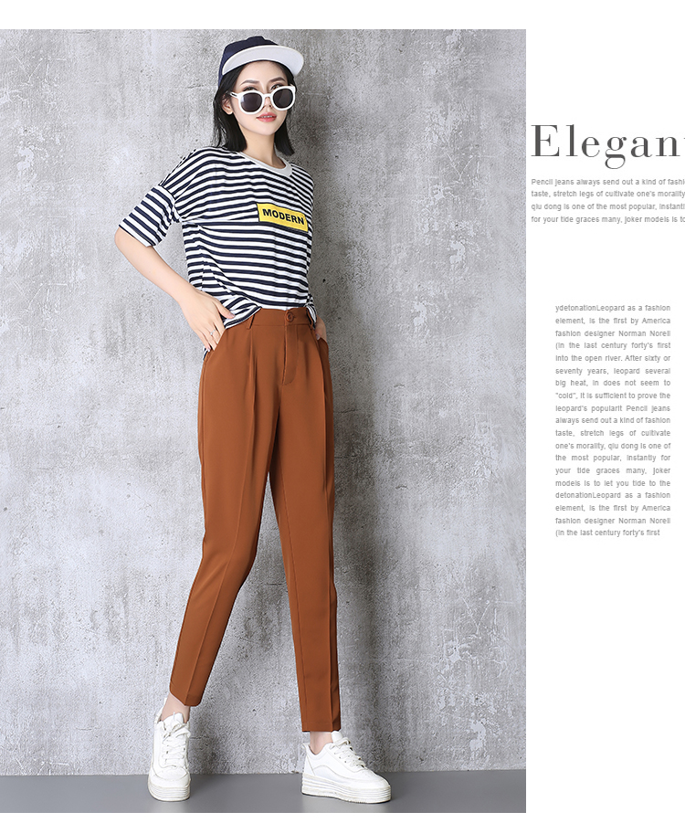 Hot Sale Harem Pants Women 19 Summer Autumn Pants Casual OL Pants Elastic High Waist Slim Work Pants Plus Size 3XL Trousers 6